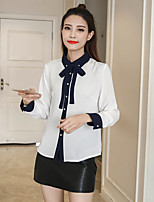 Women's Casual/Daily Simple Shirt,Solid Stand Long Sleeve Polyester Thin