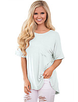 Women's Beach Holiday Simple Summer T-shirt,Solid Round Neck ½ Length Sleeve Polyester Spandex