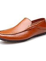 Белый Черный Коричневый-Для мужчин-Для офиса Повседневный Для вечеринки / ужина-Кожа-На низком каблуке-Удобная обувь Мокасины-Мокасины и