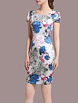 Women's Plus Size Casual/Daily Vintage Sheath Dress,Floral Round Neck Above Knee Short Sleeve Nylon Summer Mid Rise Micro-elastic Medium