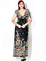Women's Plus Size Vintage Swing Dress,Print Deep V Maxi Sleeveless Polyester Summer Fall High Rise Micro-elastic Medium