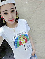 Women's Beach Cute T-shirt,Print Round Neck Short Sleeve Cotton