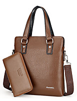 Men PU Formal Casual Event/Party Office & Career Bag Sets Brown Black