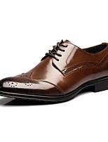 -Для мужчин-Для офиса Для вечеринки / ужина Повседневный-Кожа-На низком каблуке-Удобная обувь Баллок обувь-Туфли на шнуровке