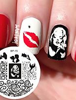 Marilyn monroe padrão nail art selo modelo imagem prato nascido bonito prego estampagem placas bp15 unha arte decoração