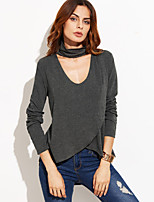 Women's Casual/Daily Street chic Spring T-shirt,Solid V Neck Long Sleeve Cotton Thin