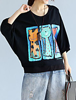 Women's Casual/Daily Simple T-shirt,Print Round Neck ¾ Sleeve Cotton