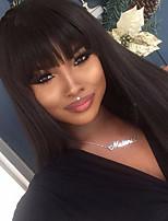 Non transformé 10-26 130% de densité vierge indienne naturelle couleur noire soie perruque de dentelle pleine droite perruques avant en