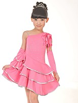 Latin Dance Dresses Kid's Performance Spandex Sequined 3 Pieces Sleeveless Natural Dress Bracelets