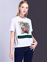 Damen Tierfell-Druck Niedlich Aktiv Lässig/Alltäglich Ausgehen T-shirt,Rundhalsausschnitt Sommer Kurzarm Andere Mittel Undurchsichtig