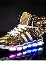 Fille-Extérieure Décontracté Sport-Or Noir Argent Rouge-Talon Plat-Confort Nouveauté Light Up Chaussures-Baskets-Polyuréthane