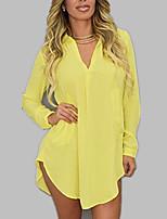 Для женщин На выход Пляж Все сезоны Рубашка V-образный вырез,Простое Изысканный Однотонный Длинный рукав,Искусственный шёлк