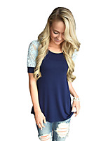 Women's Casual/Daily Beach Holiday Cute Summer T-shirt,Color Block Round Neck Short Sleeve Polyester Spandex Medium