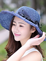 Women Summer Bow Big Brim Hat Straw Beach Travel Sunscreen Sun Hat
