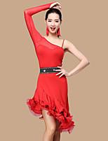 ריקוד לטיני שמלות בגדי ריקוד נשים ביצועים פוליאסטר טול מילק פייבר קפלים שחבור 2 חלקים בלי שרוולים שרוול ארוך גבוה שמלות שורטים