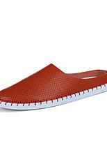 Белый Черный Коричневый-Для мужчин-Для прогулок Повседневный Для занятий спортом-Дерматин-На плоской подошве-Удобная обувь-Мокасины и
