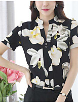 Women's Going out Simple Cute Blouse,Floral Stand Short Sleeve Polyester