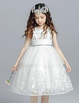 Ball Gown Knee-length Flower Girl Dress - Organza Jewel with Beading Bow(s) Crystal Detailing Lace