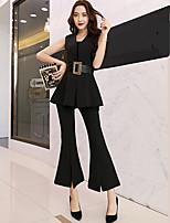 Для женщин На выход Офис Вечеринка/коктейль Рубашка Брюки Костюмы V-образный вырез,просто Уличный стиль Однотонный