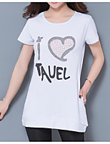 Women's Casual/Daily Simple T-shirt,Print Round Neck Short Sleeve Cotton Thin