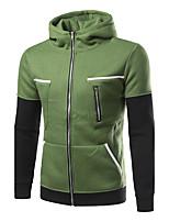 Sweatshirt Homme Décontracté / Quotidien Couleur Pleine Mao Micro-élastique Coton Manches longues