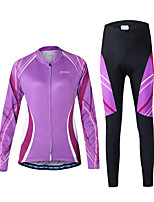 Arsuxeo Cycling Jersey with Tights Women's Long Sleeve Bike Breathable Quick Dry Front Zipper Reduces Chafing Soft Sunscreen Back Pocket
