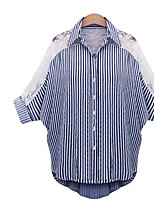 Women's Going out Simple Shirt,Striped Shirt Collar ½ Length Sleeve Cotton