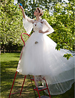 A-line Wedding Dress - Chic & Modern See-Through Court Train Jewel Tulle with Beading Flower