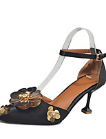 Women's Heels PU Summer Fall Rhinestone Flower Stiletto Heel Black Gray 1in-1 3/4in