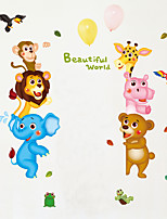 Wall Stickers Wall Decals Style Cartoon Lion Elephant Forest Animal PVC Wall Stickers
