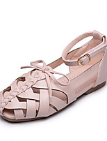Girls' Sandals Summer Comfort Leatherette Outdoor Office & Career Party & Evening Casual Flat Heel Bowknot Magic Tape Brown Beige Black