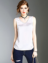 XSSLWomen's Going out Casual/Daily Beach Simple Cute Street chic Summer T-shirtSolid V Neck Sleeveless Polyester Medium
