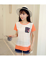 Women's Casual/Daily Cute T-shirt,Solid Color Block Round Neck Short Sleeve Cotton