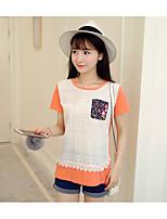 Damen Solide Einfarbig Niedlich Lässig/Alltäglich T-shirt,Rundhalsausschnitt Kurzarm Baumwolle