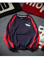 Men's Casual/Daily Sweatshirt Color Block Round Neck strenchy Cotton 3/4 Length Sleeve Spring