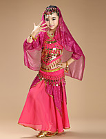 Belly Dance Outfits Kid's Performance Chiffon Spandex Coins Sequins 4 Pieces Long Sleeve Children's Dance Costumes Natural Top /Veil /Hip Scarf /Skirt