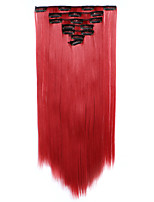 7pcs/Set 130g Pink Wine 50cm Hair Extension Clip In Synthetic Hair Extensions