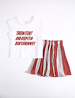 Girls' Casual/Daily Striped Geometric Sets,Cotton Summer Clothing Set