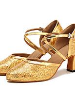 Sapatos de Dança(Dourado) -Feminino-Personalizável-Moderna