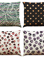Set of 4 Geometric Dot  Pattern  Linen Pillowcase Sofa Home Decor Cushion Cover