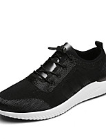 Men's Sneakers Spring Fall Comfort PU Casual Lace-up Silver/Black Black