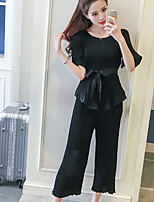 Women's Casual/Daily Simple T-shirt Pant Suits,Solid Round Neck Short Sleeve strenchy
