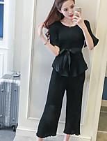 Manches Ajustées Pantalon Costumes Femme,Couleur Pleine Décontracté / Quotidien simple Eté Manches Courtes strenchy