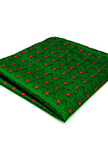 CH5 New Mens Pocket Square Hanky Green Dots 100% Silk Business Dress Jacquard Woven Unique