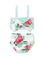 Girls' Bow Print Stripe FLOWER Swimwear Cotton Sandy Beach Swimming Kids Baby Clothing FenLieShi Swimsuit 2Pcs set