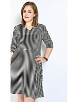 Women's Plus Size Casual/Daily Party Sexy Vintage Simple A Line Shift Sheath Dress,Houndstooth V Neck Midi ¾ SleeveCotton Polyester