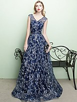 Formal Evening Dress - Sparkle & Shine A-line V-neck Floor-length Tulle with