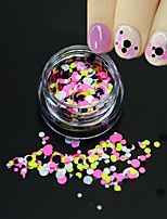 1Bottle Fashion Mixed Colorful Nail Art Glitter Round Paillette Thin Round Slice Decoration P28