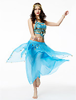 Belly Dance Outfits Women's Performance Chiffon Sequined 2 Pieces Sleeveless High Top Skirt