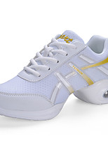 Women's Dance Sneakers Leatherette Sneakers Practice Chunky Heel White Black 1
